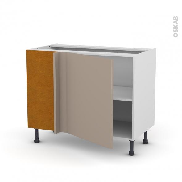 Meuble de cuisine - Angle bas réversible - GINKO Taupe - 1 porte N°21 L60 cm - L100 x H70 x P58 cm