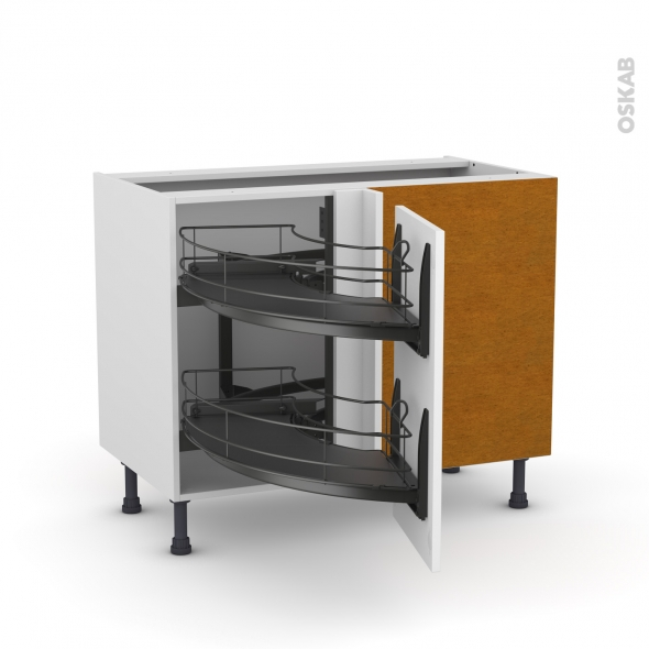 Meuble de cuisine - Angle bas - GINKO Blanc - Demi lune coulissant EPOXY - Tirant droit 1 porte L40 cm - L80 x H70 x P58 cm