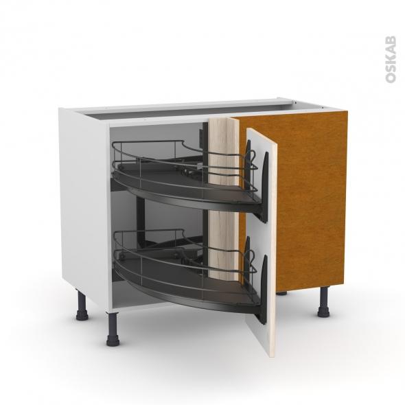 Meuble de cuisine - Angle bas - IKORO Chêne clair - Demi lune coulissant EPOXY - Tirant droit 1 porte L40 cm - L80 x H70 x P58 cm