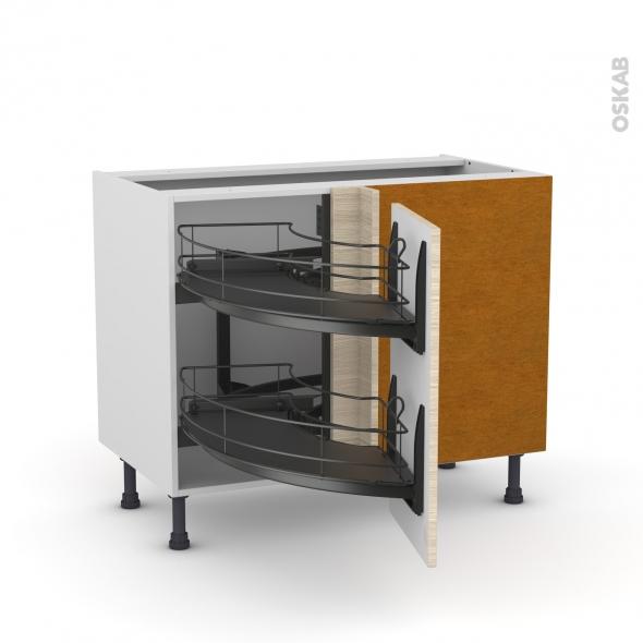 Meuble de cuisine - Angle bas - STILO Noyer Blanchi - Demi lune coulissant EPOXY - Tirant droit 1 porte L40 cm - L80 x H70 x P58 cm