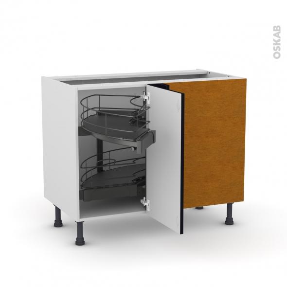 Meuble de cuisine - Angle bas - KERIA Noir - Demi lune coulissant - Tirant droit 1 porte L40 cm mobile - L80 x H70 x P58 cm