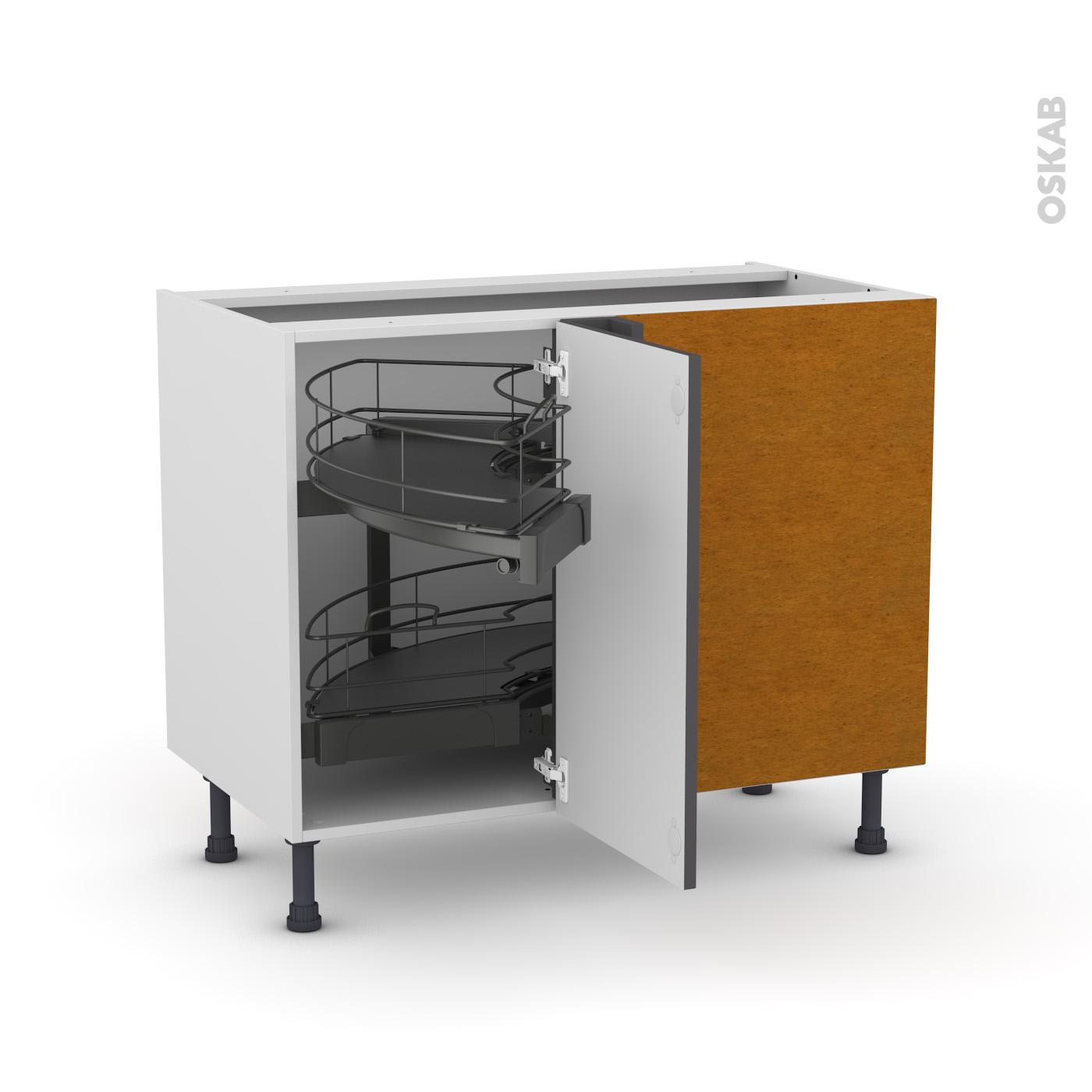 Meuble de cuisine Angle bas GINKO Gris Demi lune coulissant Tirant droit 1  porte L40 cm mobile L80 x H70 x P58 cm - Oskab
