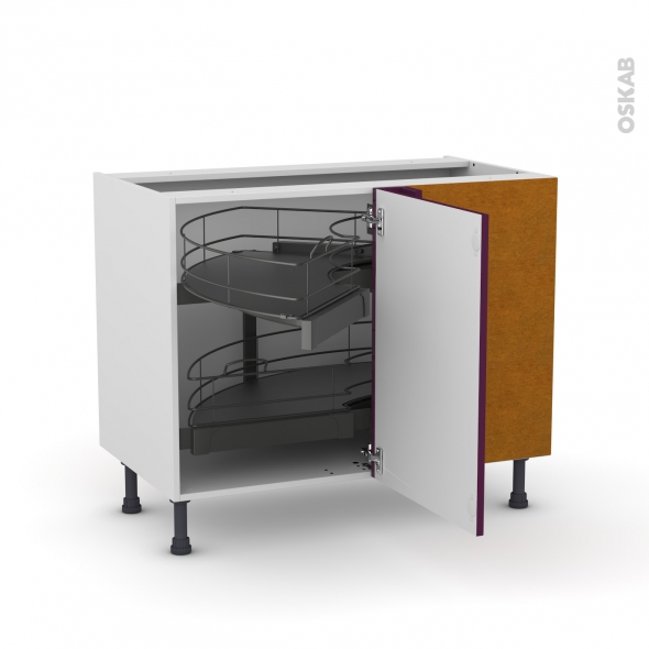 Meuble de cuisine - Angle bas - KERIA Aubergine - Demi lune coulissant - Tirant droit 1 porte L50 cm mobile - L100 x H70 x P58 cm