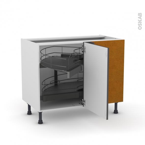 Meuble de cuisine - Angle bas - GINKO Gris - Demi lune coulissant - Tirant droit 1 porte L50 cm mobile - L100 x H70 x P58 cm