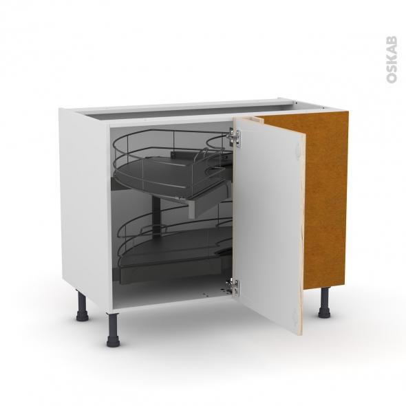 Meuble de cuisine - Angle bas - IKORO Chêne clair - Demi lune coulissant - Tirant droit 1 porte L50 cm mobile - L100 x H70 x P58 cm