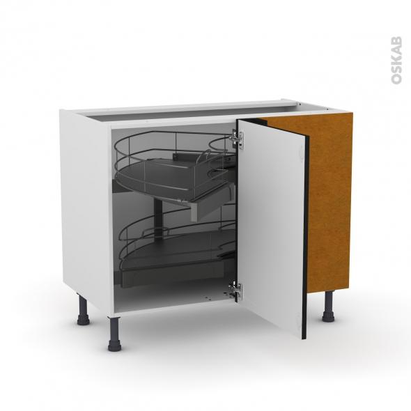 Meuble de cuisine - Angle bas - GINKO Noir - Demi lune coulissant - Tirant droit 1 porte L50 cm mobile - L100 x H70 x P58 cm