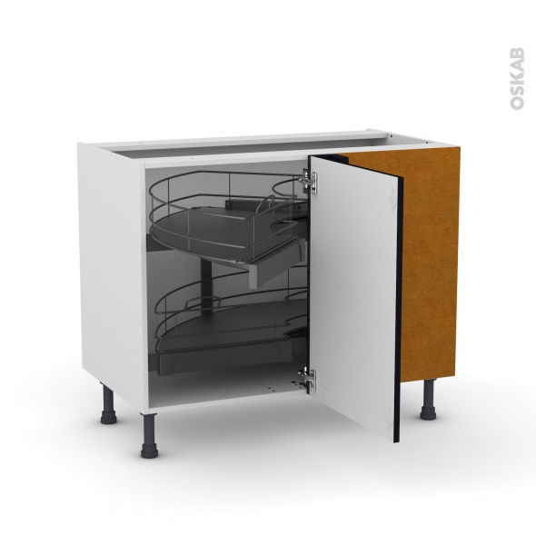 Meuble de cuisine - Angle bas - KERIA Noir - Demi lune coulissant - Tirant droit 1 porte L50 cm mobile - L100 x H70 x P58 cm