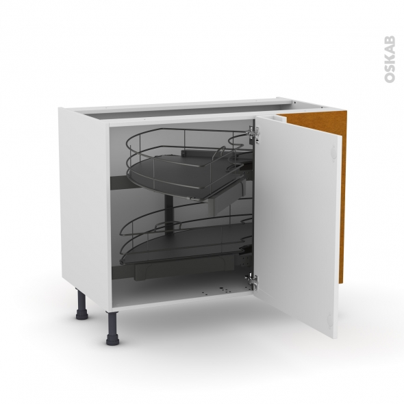 Meuble de cuisine - Angle bas - GINKO Blanc - Demi lune coulissant EPOXY - Tirant droit 1 porte L60 cm mobile - L100 x H70 x P58 cm