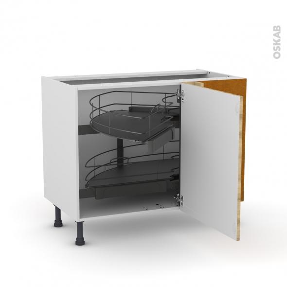 Meuble de cuisine - Angle bas - HOSTA Chêne naturel - Demi lune coulissant - Tirant droit 1 porte L60 cm mobile - L100 x H70 x P58 cm