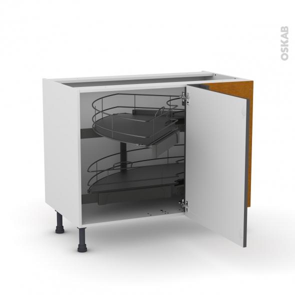Meuble de cuisine - Angle bas - GINKO Gris - Demi lune coulissant - Tirant droit 1 porte L60 cm mobile - L100 x H70 x P58 cm