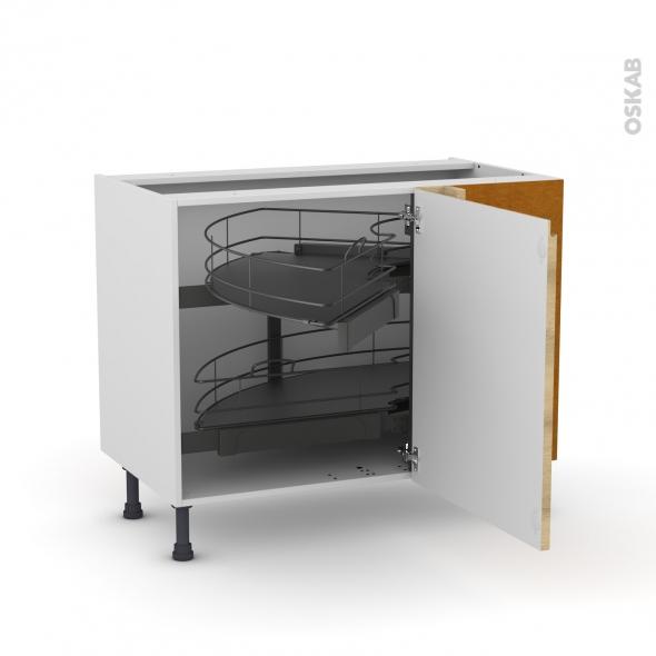 Meuble de cuisine - Angle bas - IPOMA Chêne naturel - Demi lune coulissant - Tirant droit 1 porte L60 cm mobile - L100 x H70 x P58 cm