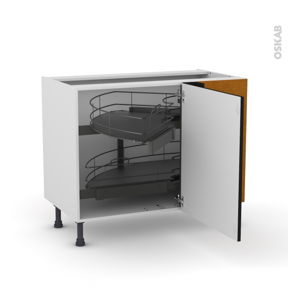 Meuble de cuisine - Angle bas - GINKO Noir - Demi lune coulissant - Tirant droit 1 porte L60 cm mobile - L100 x H70 x P58 cm