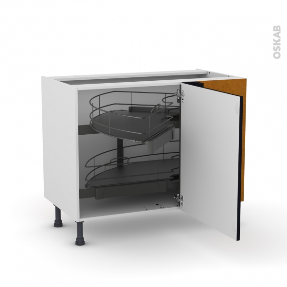 Meuble de cuisine - Angle bas - KERIA Noir - Demi lune coulissant - Tirant droit 1 porte L60 cm mobile - L100 x H70 x P58 cm