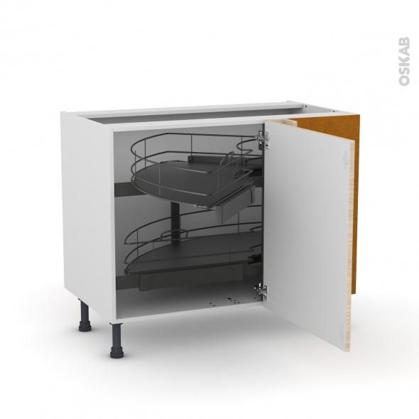 Meuble de cuisine - Angle bas - STILO Noyer Blanchi - Demi lune coulissant - Tirant droit 1 porte L60 cm mobile - L100 x H70 x P58 cm
