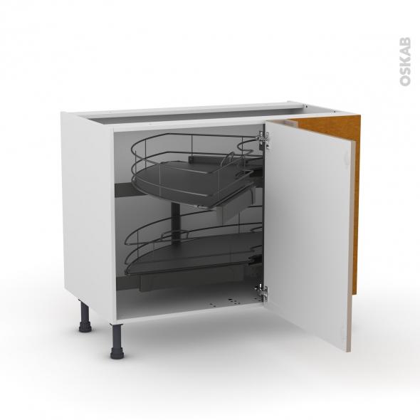 Meuble de cuisine - Angle bas - GINKO Taupe - Demi lune coulissant - Tirant droit 1 porte L60 cm mobile - L100 x H70 x P58 cm