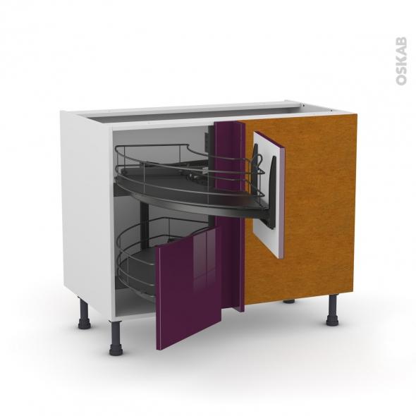 Meuble de cuisine - Angle bas - KERIA Aubergine - Demi lune coulissant EPOXY - Tirant droit 2 tiroirs L40 cm  - L80 x H70 x P58 cm