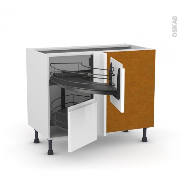 Meuble de cuisine - Angle bas - IPOMA Blanc brillant - Demi lune coulissant EPOXY - Tirant droit 2 tiroirs L40 cm  - L80 x H70 x P58 cm