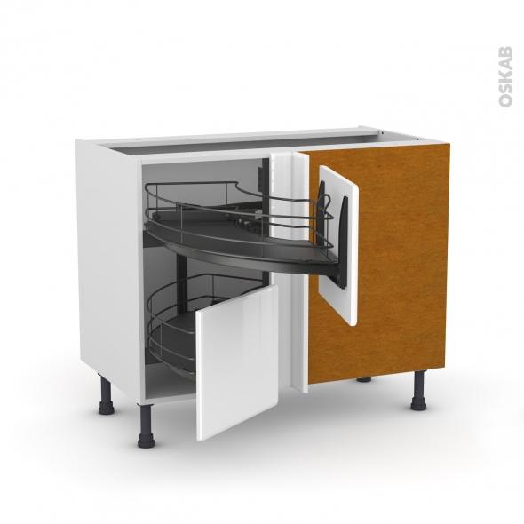 Meuble de cuisine - Angle bas - IRIS Blanc - Demi lune coulissant EPOXY - Tirant droit 2 tiroirs L40 cm  - L80 x H70 x P58 cm