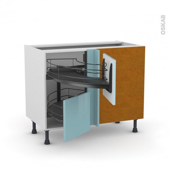 Meuble de cuisine - Angle bas - KERIA Bleu - Demi lune coulissant EPOXY - Tirant droit 2 tiroirs L40 cm  - L80 x H70 x P58 cm