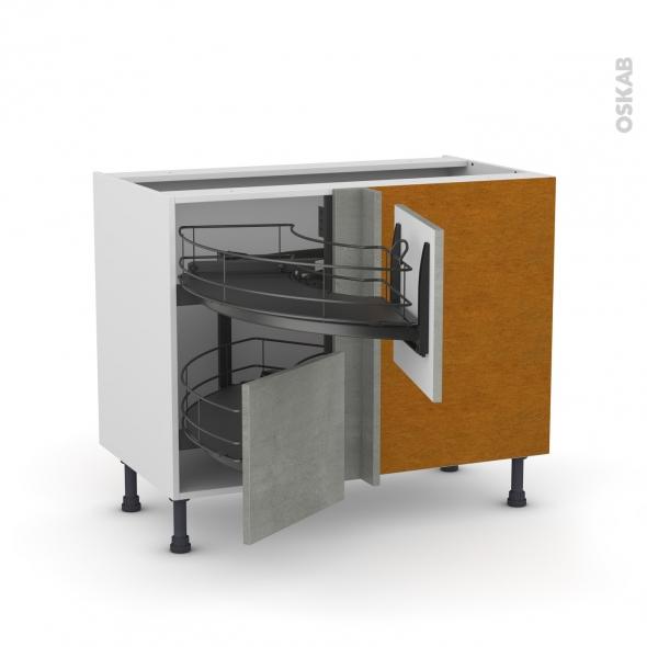 Meuble de cuisine - Angle bas - FAKTO Béton - Demi lune coulissant EPOXY - Tirant droit 2 tiroirs L40 cm  - L80 x H70 x P58 cm