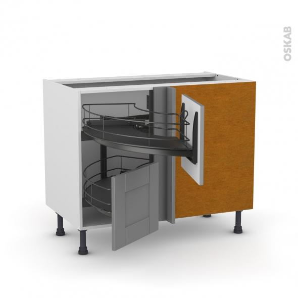 Meuble de cuisine - Angle bas - FILIPEN Gris - Demi lune coulissant EPOXY - Tirant droit 2 tiroirs L40 cm  - L80 x H70 x P58 cm
