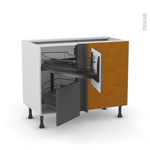 Meuble de cuisine - Angle bas - GINKO Gris - Demi lune coulissant EPOXY - Tirant droit 2 tiroirs L40 cm  - L80 x H70 x P58 cm