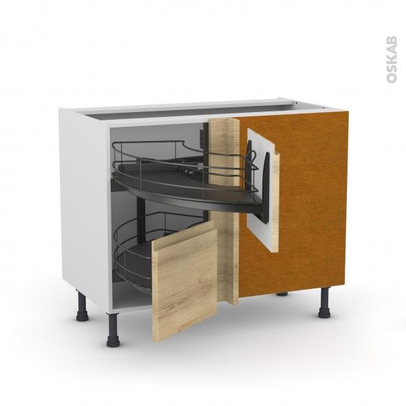 Meuble de cuisine - Angle bas - IPOMA Chêne naturel - Demi lune coulissant EPOXY - Tirant droit 2 tiroirs L40 cm  - L80 x H70 x P58 cm