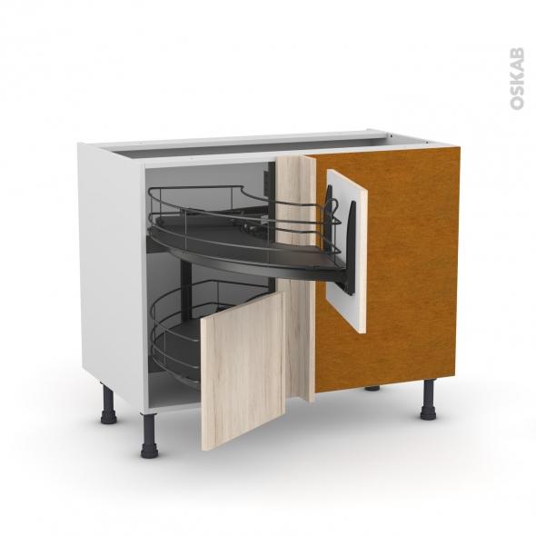 Meuble de cuisine - Angle bas - IKORO Chêne clair - Demi lune coulissant EPOXY - Tirant droit 2 tiroirs L40 cm  - L80 x H70 x P58 cm