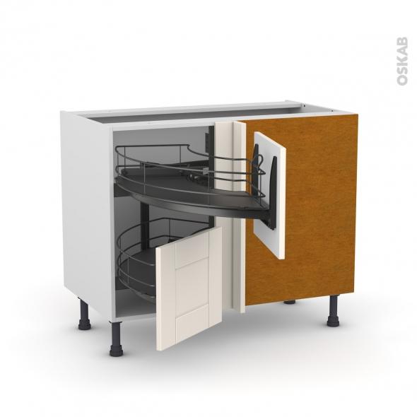 Meuble de cuisine - Angle bas - FILIPEN Ivoire - Demi lune coulissant EPOXY - Tirant droit 2 tiroirs L40 cm  - L80 x H70 x P58 cm