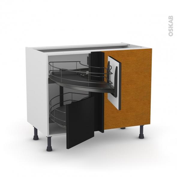 Meuble de cuisine - Angle bas - GINKO Noir - Demi lune coulissant EPOXY - Tirant droit 2 tiroirs L40 cm  - L80 x H70 x P58 cm