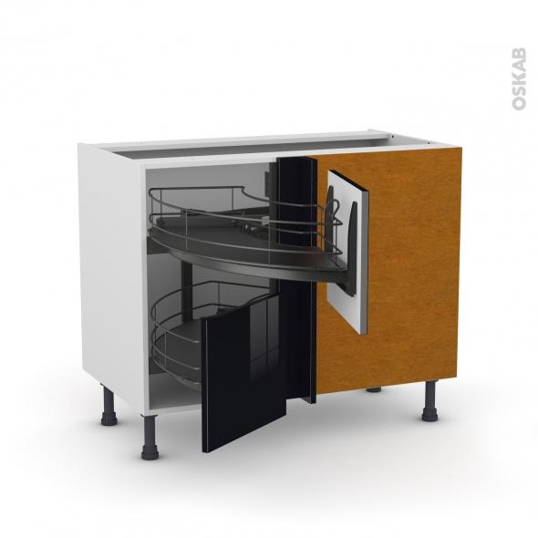 Meuble de cuisine - Angle bas - KERIA Noir - Demi lune coulissant EPOXY - Tirant droit 2 tiroirs L40 cm  - L80 x H70 x P58 cm