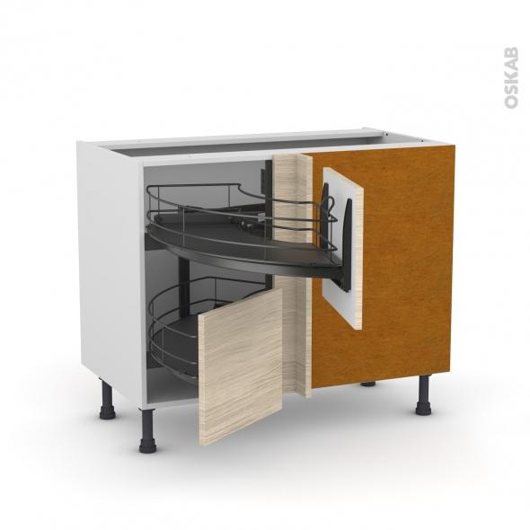 Meuble de cuisine - Angle bas - STILO Noyer Blanchi - Demi lune coulissant EPOXY - Tirant droit 2 tiroirs L40 cm  - L80 x H70 x P58 cm