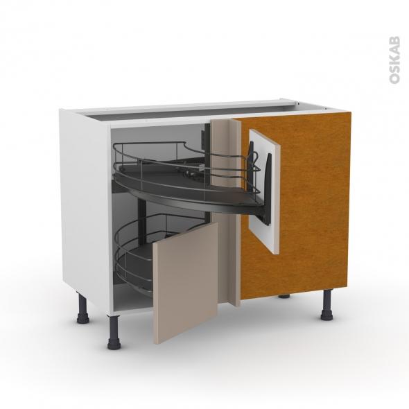 Meuble de cuisine - Angle bas - GINKO Taupe - Demi lune coulissant EPOXY - Tirant droit 2 tiroirs L40 cm  - L80 x H70 x P58 cm
