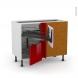 Meuble de cuisine - Angle bas - STECIA Rouge - Demi lune coulissant EPOXY - Tirant droit 2 tiroirs L40 cm  - L80 x H70 x P58 cm