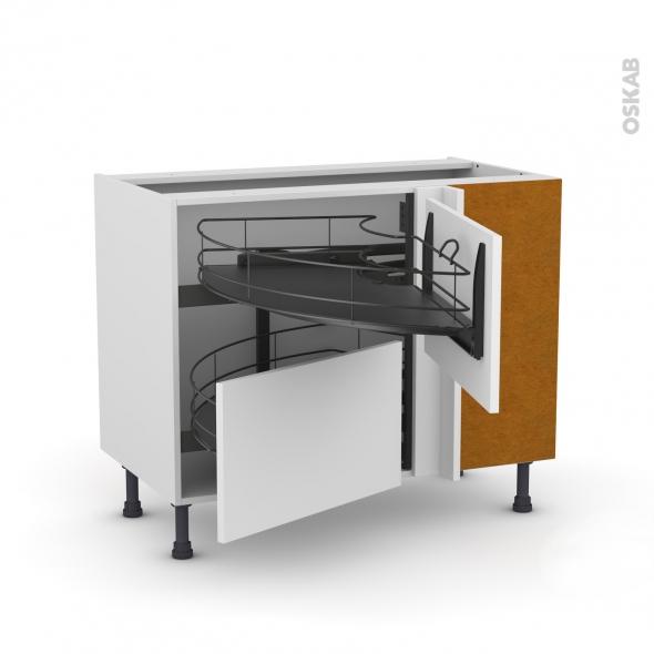 Meuble de cuisine - Angle bas - GINKO Blanc - Demi lune coulissant EPOXY - Tirant droit 2 tiroirs L60 cm  - L100 x H70 x P58 cm