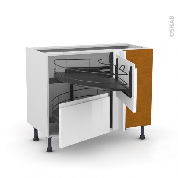 Meuble de cuisine - Angle bas - IPOMA Blanc brillant - Demi lune coulissant EPOXY- Tirant droit 2 tiroirs L60 cm  - L100 x H70 x P58 cm