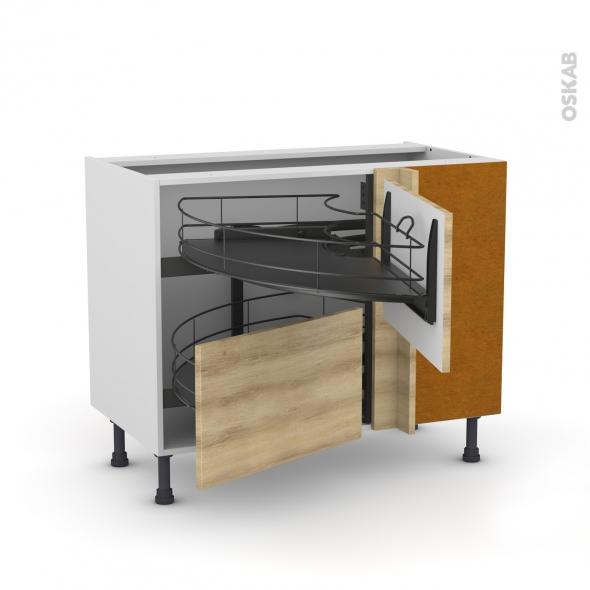 Meuble de cuisine - Angle bas - HOSTA Chêne naturel - Demi lune coulissant EPOXY- Tirant droit 2 tiroirs L60 cm  - L100 x H70 x P58 cm