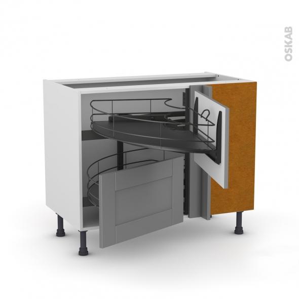 Meuble de cuisine - Angle bas - FILIPEN Gris - Demi lune coulissant EPOXY- Tirant droit 2 tiroirs L60 cm  - L100 x H70 x P58 cm