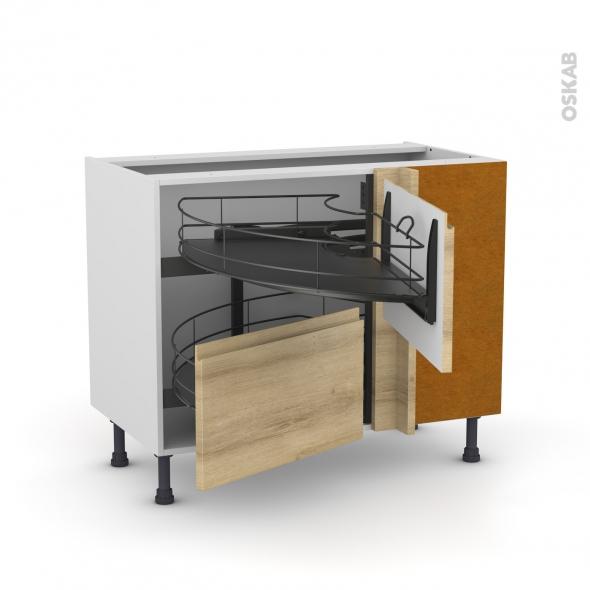 Meuble de cuisine - Angle bas - IPOMA Chêne naturel - Demi lune coulissant EPOXY- Tirant droit 2 tiroirs L60 cm  - L100 x H70 x P58 cm