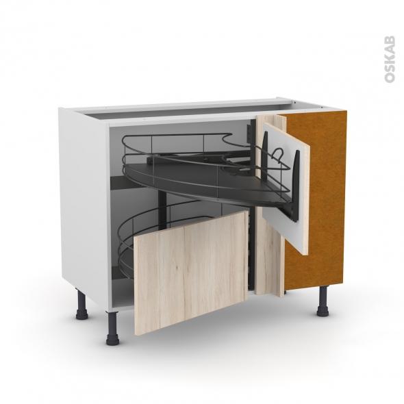 Meuble de cuisine - Angle bas - IKORO Chêne clair - Demi lune coulissant EPOXY- Tirant droit 2 tiroirs L60 cm  - L100 x H70 x P58 cm
