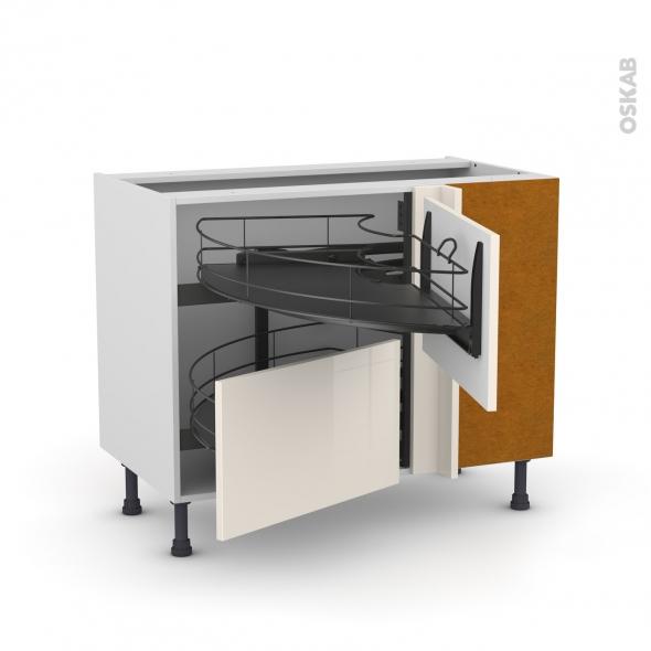 Meuble de cuisine - Angle bas - KERIA Ivoire - Demi lune coulissant EPOXY- Tirant droit 2 tiroirs L60 cm  - L100 x H70 x P58 cm