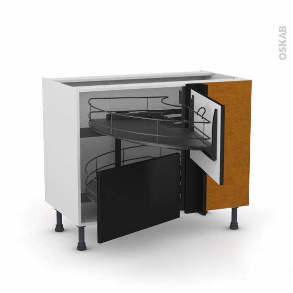 Meuble de cuisine - Angle bas - GINKO Noir - Demi lune coulissant EPOXY- Tirant droit 2 tiroirs L60 cm  - L100 x H70 x P58 cm