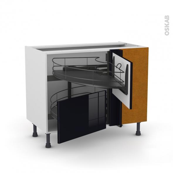 Meuble de cuisine - Angle bas - KERIA Noir - Demi lune coulissant EPOXY- Tirant droit 2 tiroirs L60 cm  - L100 x H70 x P58 cm