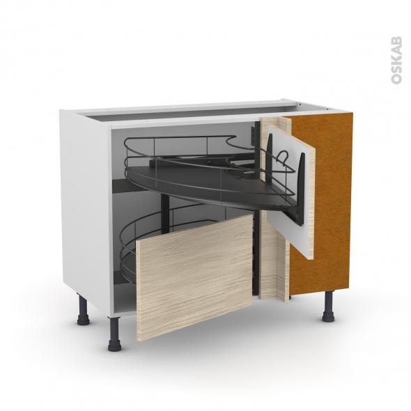 Meuble de cuisine - Angle bas - STILO Noyer Blanchi - Demi lune coulissant EPOXY- Tirant droit 2 tiroirs L60 cm  - L100 x H70 x P58 cm