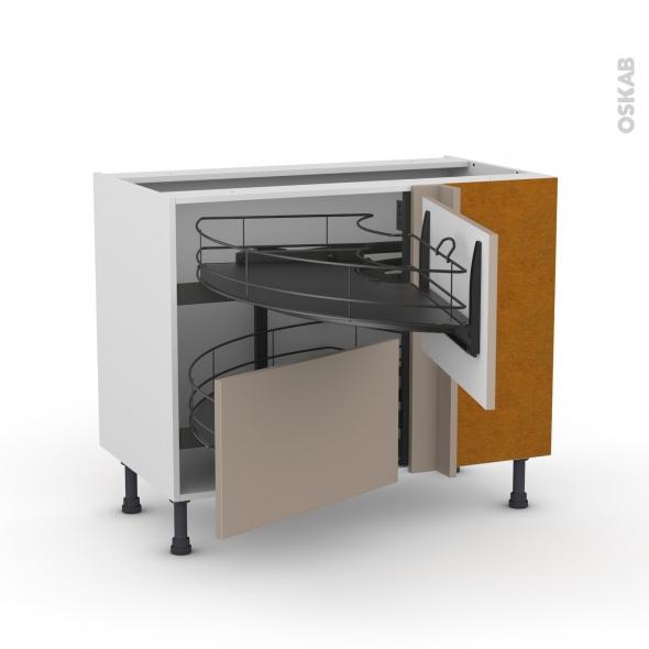 Meuble de cuisine - Angle bas - GINKO Taupe - Demi lune coulissant EPOXY- Tirant droit 2 tiroirs L60 cm  - L100 x H70 x P58 cm
