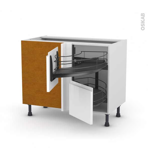 meuble de cuisine angle bas ipoma blanc demi lune coulissant epoxy ... - Meuble Cuisine Angle Bas