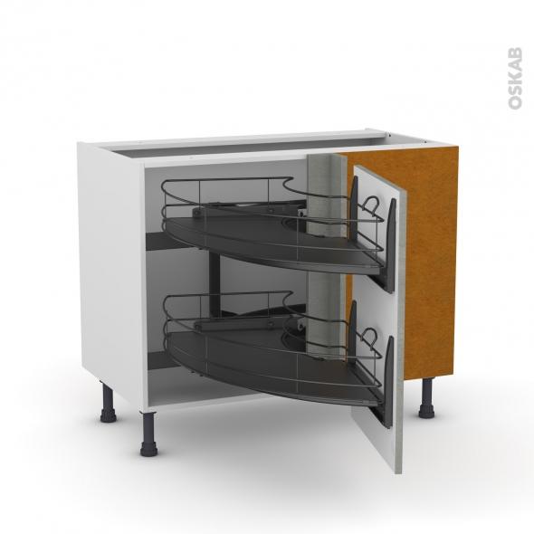 Meuble de cuisine - Angle bas - FAKTO Béton - Demi lune coulissant EPOXY - Tirant droit 1 porte L50 cm - L100 x H70 x P58 cm