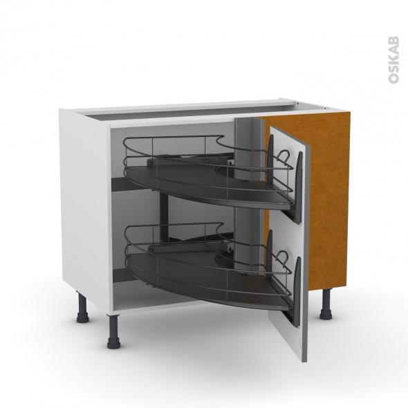 Meuble de cuisine - Angle bas - STECIA Gris - Demi lune coulissant EPOXY - Tirant droit 1 porte L50 cm - L100 x H70 x P58 cm