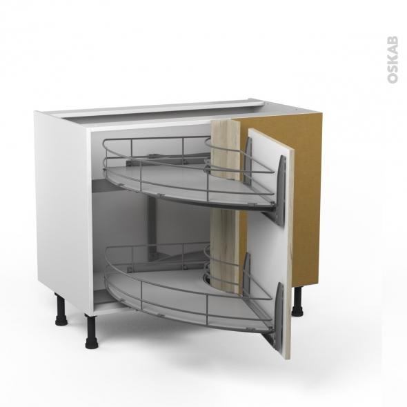 Meuble de cuisine - Angle bas - IKORO Chêne clair - Demi lune coulissant EPOXY - Tirant droit 1 porte L50 cm - L100 x H70 x P58 cm