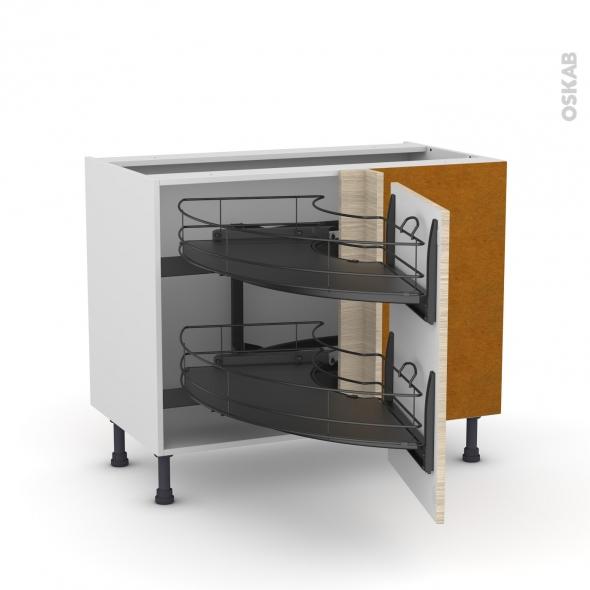 Meuble de cuisine - Angle bas - STILO Noyer Blanchi - Demi lune coulissant EPOXY - Tirant droit 1 porte L50 cm - L100 x H70 x P58 cm